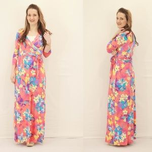 NEW Hawaiian Floral Maxi Dress - Coral
